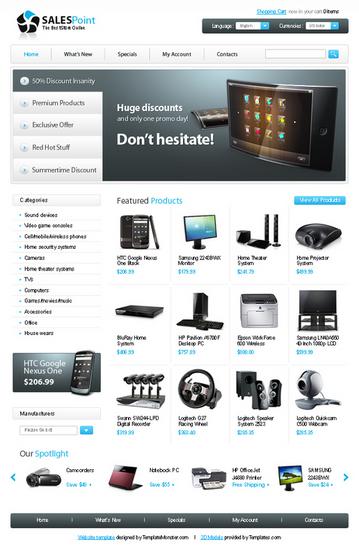 Безплатен osCommerce template за електронен магазин за техника