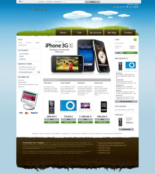 Безплатен Prestashop темплейт - Prestashop Earth theme